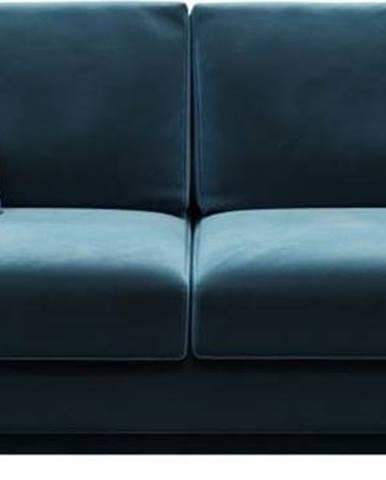 Tmavě modrá sametová rozkládací pohovka Devichy Rothe, 256 cm