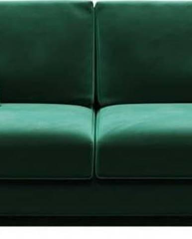 Tmavě zelená sametová rozkládací pohovka Devichy Rothe, 256 cm