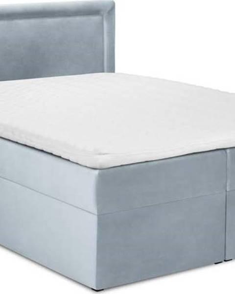 Mazzini Beds Bledě modrá sametová dvoulůžková postel Mazzini Beds Yucca,160x200cm