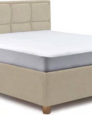 Béžová dvoulůžková postel s úložným prostorem ProSpánek Karme, 160 x 200 cm