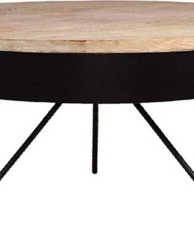 Černý konferenční stolek sdeskou zmangového dřeva LABEL51 Saran, ⌀80cm