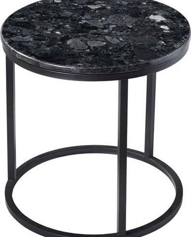 Černý žulový stolek s podnožím v černé barvě RGE Crystal, ⌀ 50 cm