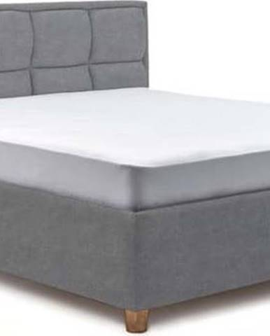 Modrošedá dvoulůžková postel s roštem a úložným prostorem ProSpánek Karme, 180 x 200 cm