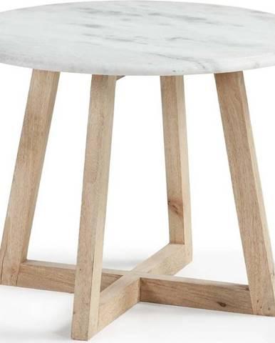 Odkládací stolek z mangového dřeva a mramoru La Forma Hella