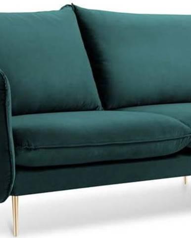 Petrolejově zelená sametová pohovka Cosmopolitan Design Florence, 160 cm