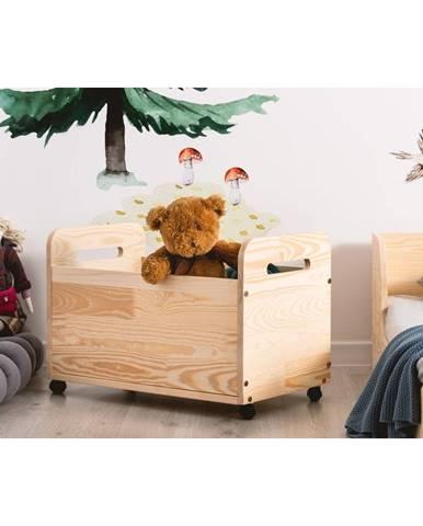 Pojízdný úložný box z borovicového dřeva Adeko Kutu Bella,60cm
