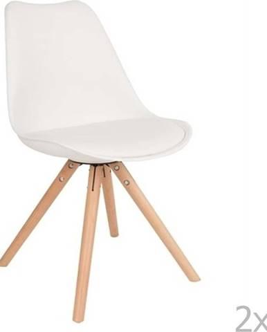 Sada 2 bílých židlí s bukovým podnožím White Label Tryck