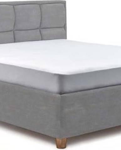 Světle modrá dvoulůžková postel s úložným prostorem ProSpánek Karme, 160 x 200 cm