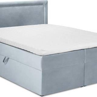 Bledě modrá sametová dvoulůžková postel Mazzini Beds Yucca,160x200cm