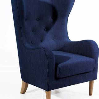 Tmavě modré křeslo ušák Max Winzer Miriam Linen