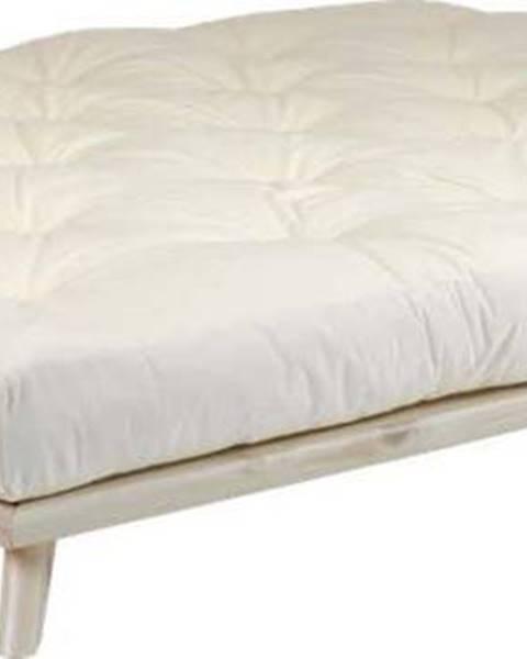 Karup Design Dvoulůžková postel z borovicového dřeva s matrací Karup Design Senza Comfort Mat Natural Clear/Natural, 160 x 200 cm