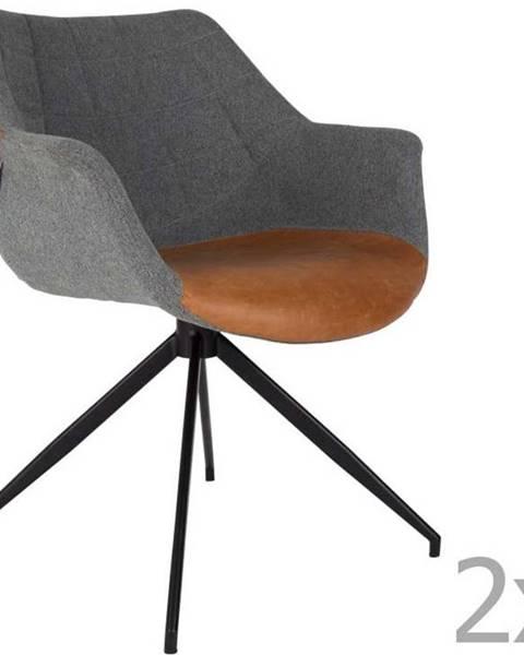 Zuiver Sada 2 šedo-hnědých židlí Zuiver Doulton