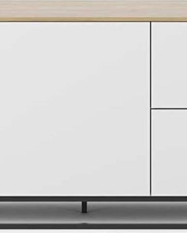 Bílá komoda s deskou v dekoru dubu a černými nohami TemaHome Join