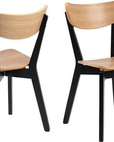 Černá jídelní židle s prvky v dekoru dubového dřeva Actona Roxby
