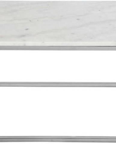 Konferenční stolek s bílou mramorovou deskou a podnožím ve stříbrné barvě RGE Accent