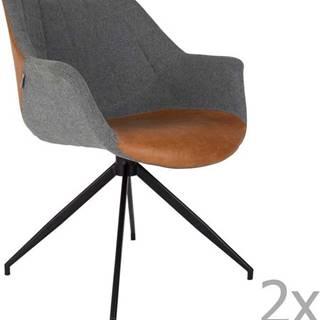 Sada 2 šedo-hnědých židlí Zuiver Doulton