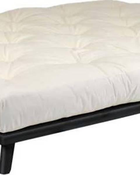 Karup Design Dvoulůžková postel z borovicového dřeva s matrací Karup Design Senza Comfort Mat Black/Natural, 160 x 200 cm