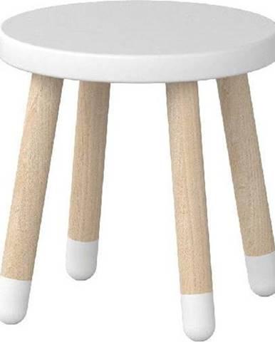 Bílá dětská stolička Flexa Dots, ø 30 cm