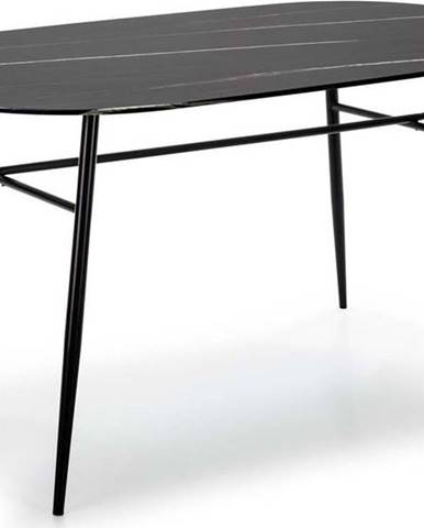 Černý jídelní stůl se skleněnou deskou v mramorovém dekoru Marckeric Alina