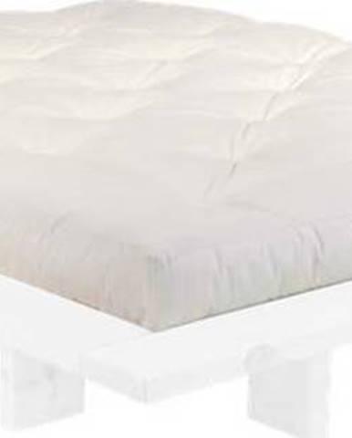 Dvoulůžková postel z borovicového dřeva s matrací Karup Design Japan Double Latex White/Natural, 160 x 200 cm