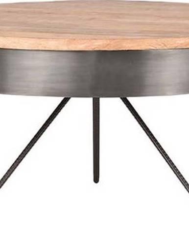 Šedý konferenční stolek sdeskou zmangového dřeva LABEL51 Saran, ⌀80cm