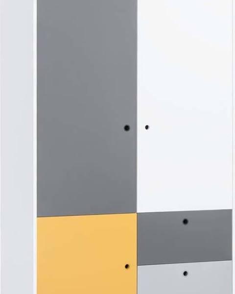 VOX Bílošedá dvoudveřová šatní skříň se žlutým detailem Vox Concept