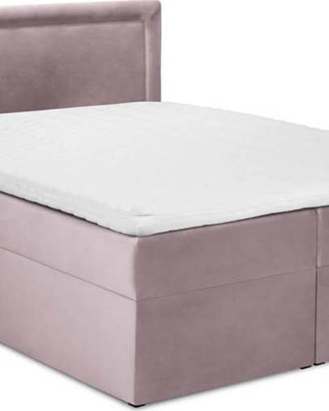 Mazzini Beds Růžová sametová dvoulůžková postel Mazzini Beds Yucca,200x200cm