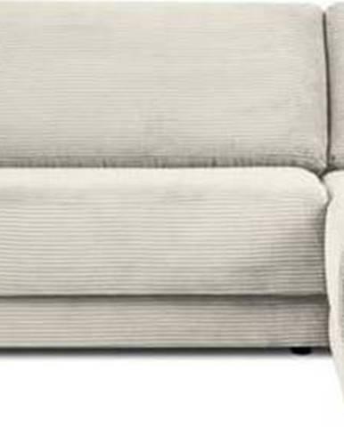 Béžová manšestrová rozkládací rohová pohovka Milo Casa Donatella, pravý roh