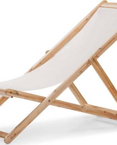 Béžové skládací zahradní lehátko z akáciového dřeva Le Bonom Deck