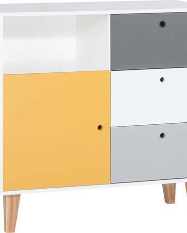 Bílo-šedá komoda se žlutým detailem Vox Concept