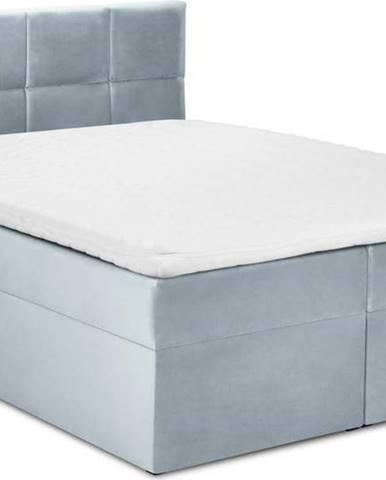 Bledě modrá sametová dvoulůžková postel Mazzini Beds Mimicry,200x200cm