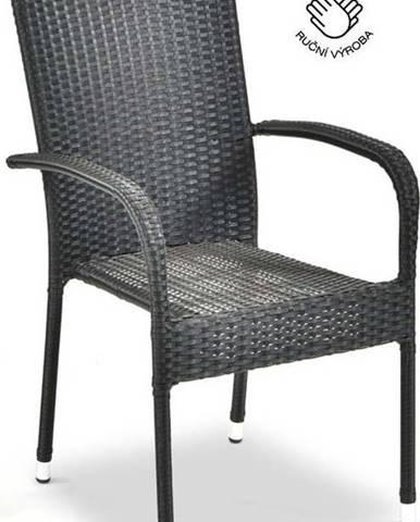 Černá zahradní židle z umělého ratanu Le Bonom Paris, výška 95 cm