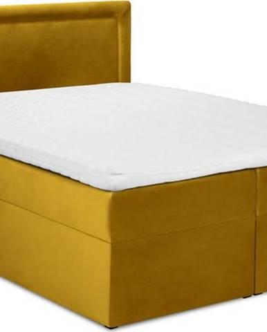 Hořčicově žlutá sametová dvoulůžková postel Mazzini Beds Yucca,160x200cm