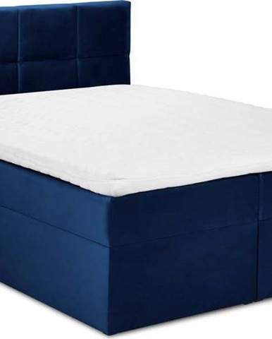 Modrá sametová dvoulůžková postel Mazzini Beds Mimicry,200x 200cm