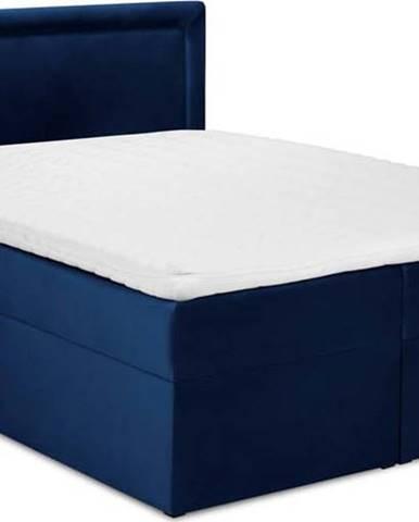 Modrá sametová dvoulůžková postel Mazzini Beds Yucca,160x200cm