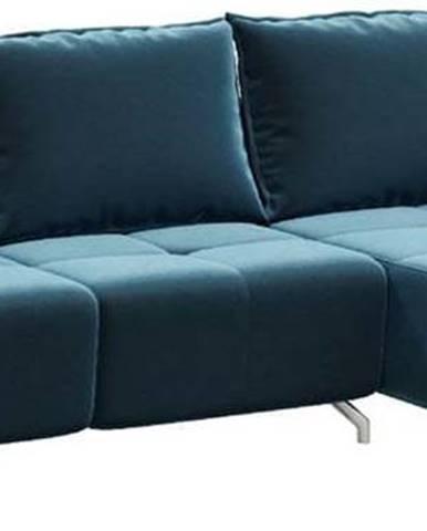 Tmavě modrá sametová rozkládací variabilní rohová pohovka devichy Hermes