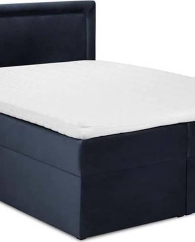 Tmavě modrá sametová dvoulůžková postel Mazzini Beds Yucca,200x200cm
