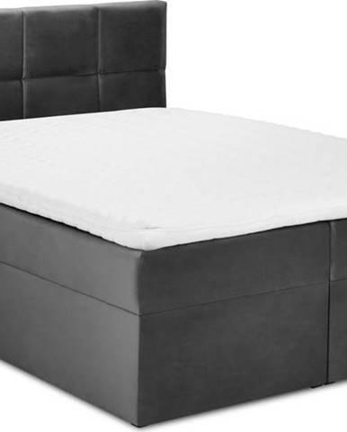 Tmavě šedá sametová dvoulůžková postel Mazzini Beds Mimicry,200x200cm