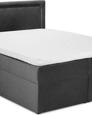 Tmavě šedá sametová dvoulůžková postel Mazzini Beds Yucca,180x200cm