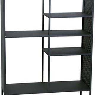 Černá kovová knihovna Canett Brooks, výška 140 cm