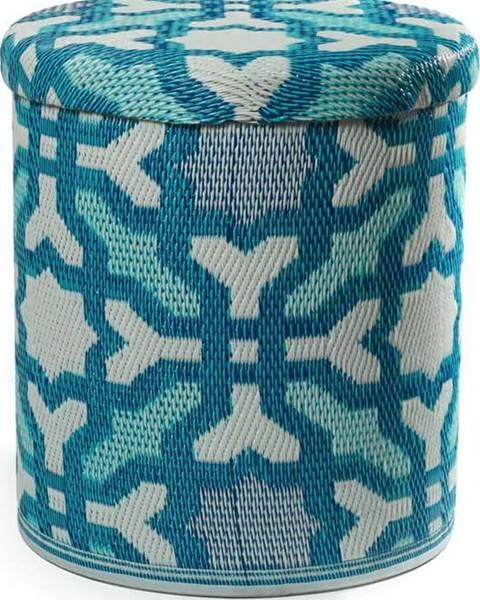 Fab Hab Tyrkysový venkovní puf s úložným prostorem Fab Hab Seville Multicolor Blue