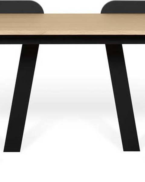 TemaHome Černý pracovní stůl s deskou v dekoru dubu TemaHome