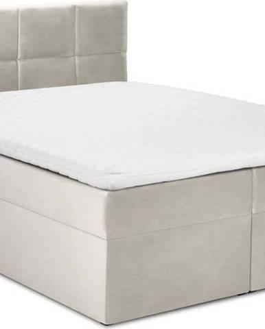 Béžová sametová dvoulůžková postel Mazzini Beds Mimicry,160x200cm