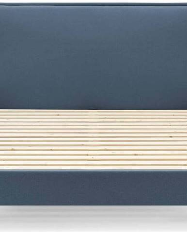 Modrá dvoulůžková postel Bobochic Paris Sary Light, 160 x 200 cm