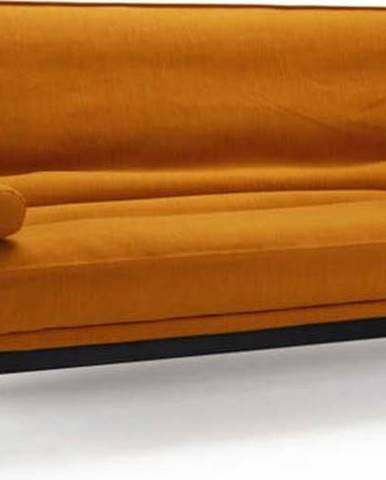 Oranžová rozkládací pohovka se snímatelným potahem Innovation Minimum Elegance Burned Curry