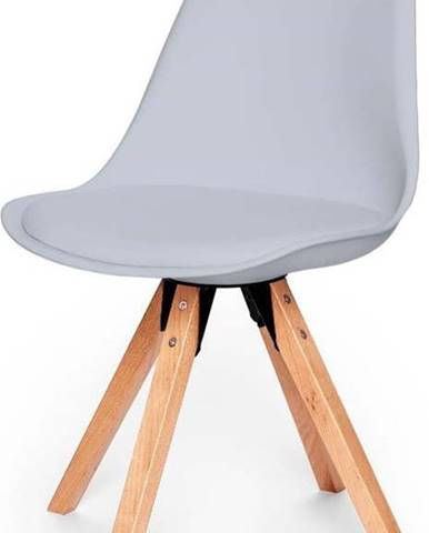 Sada 2 šedých židlí s podnožím z bukového dřeva loomi.design Eco