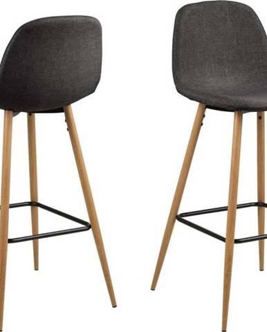 Šedá barová židle s kovovým podnožím v dekoru dubu Actona Wilma