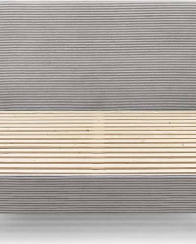 Šedá manšestrová dvoulůžková postel Bobochic Paris Anja Light, 160 x 200 cm