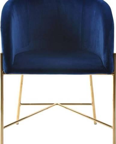 Tmavě modrá židle snohami ve zlaté barvě Interstil Nelson