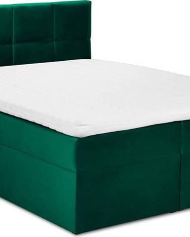 Zelená sametová dvoulůžková postel Mazzini Beds Mimicry,200x200cm